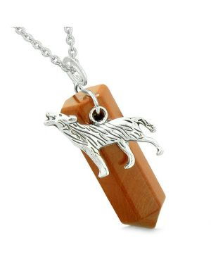 Courage Howling Wolf Protection Energy Amulet Lucky Crystal Point Red Jasper Pendant Necklace