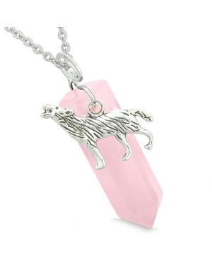 Courage Howling Wolf Protection Energy Amulet Lucky Crystal Point Rose Quartz Pendant Necklace