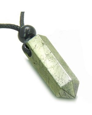 Amulet Golden Pyrite Iron Crystal Point Healing Powers Wand Pendant on Adjustable Cord Necklace