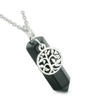 Magical Tree of Life Energy Amulet Lucky Crystal Point Black Agate Pendant 18 Inch Necklace