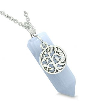Magical Tree of Life Energy Amulet Lucky Crystal Point Blue Lace Agate Pendant 18 Inch Necklace
