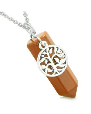 Magical Tree of Life Energy Amulet Lucky Crystal Point Red Jasper Pendant 18 Inch Necklace