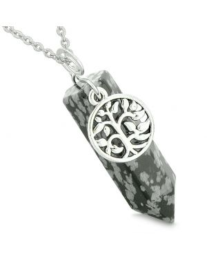 Magical Tree of Life Energy Amulet Lucky Crystal Point Snowflake Obsidian Pendant 18 Inch Necklace