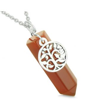 Magical Tree of Life Energy Amulet Lucky Crystal Point Carnelian Pendant 22 Inch Necklace
