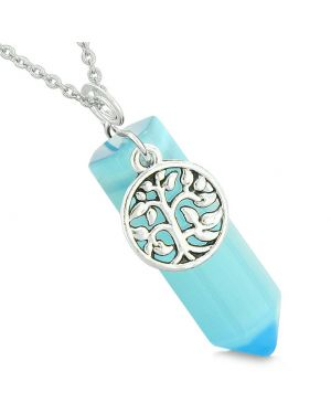 Magical Tree of Life Energy Amulet Lucky Crystal Point Blue Simulated Cats Eye Pendant 18 Inch Necklace