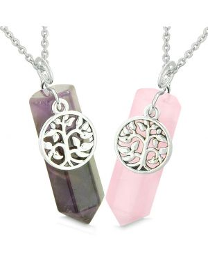 Tree of Life Magic Energy Love Couples or Best Friends Set Purple and Rose Quartz Amulet Necklaces