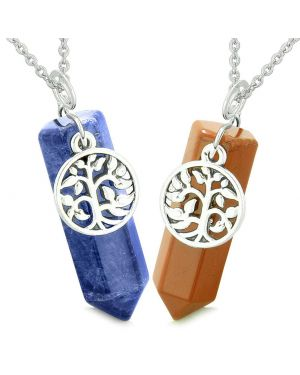 Tree of Life Magic Energy Love Couples or Best Friends Set Sodalite and Red Jasper Amulet Necklaces