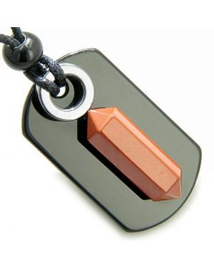 Exclamation Triple Lucky Amulet Crystal Point Tag Onyx Hematite Red Jasper Pendant Necklace