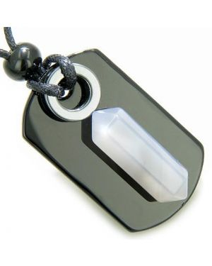 Exclamation Triple Lucky Amulet Crystal Point Tag Onyx Hematite Natural Agate Pendant Necklace