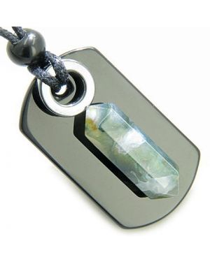 Exclamation Triple Lucky Amulet Crystal Point Tag Onyx Hematite Green Moss Agate Pendant Necklace