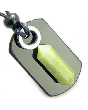 Exclamation Triple Lucky Amulet Crystal Point Tag Onyx Hematite Green Jade Pendant Necklace