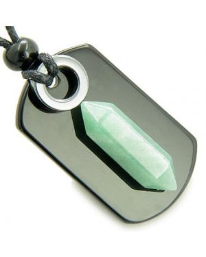 Exclamation Triple Lucky Amulet Crystal Point Tag Onyx Hematite Green Aventurine Pendant Necklace