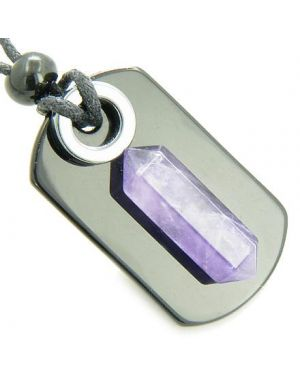 Exclamation Triple Lucky Amulet Crystal Point Tag Onyx Hematite Amethyst Gemstones Pendant Necklace