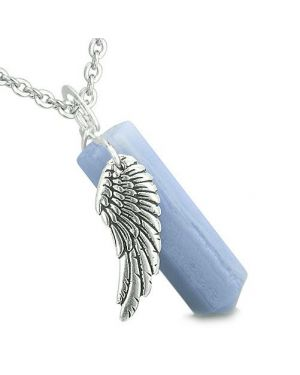 Amulet Angel Wing Archangel Uriel Crystal Point Blue Lace Agate Spiritual Pendant Necklace