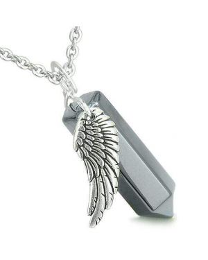 Amulet Angel Wing Archangel Samael Crystal Point Hematite Spiritual Energy Pendant Necklace