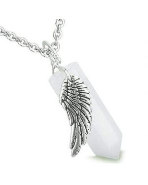 Amulet Angel Wing Archangel Zadkiel Magic Crystal Point Jade Spiritual Pendant Necklace