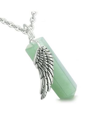 Amulet Angel Wing Archangel Thavael Crystal Point Green Aventurine Spiritual Pendant Necklace