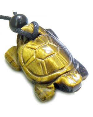 Amulet Lucky Charm Turtle Tiger Eye Gemstone Healing Powers Carved Pendant Necklace