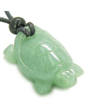 Amulet Lucky Charm Turtle Green Aventurine Gemstone Healing Powers Carved Pendant Necklace