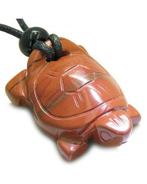 Amulet Lucky Charm Turtle Red Jasper Gemstone Good Luck Will Powers Carved Pendant Necklace