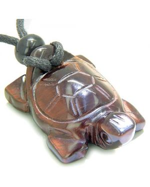 Amulet Lucky Charm Turtle Red Tiger Eye Gemstone Evil Eye Protection Powers Carved Pendant Necklace