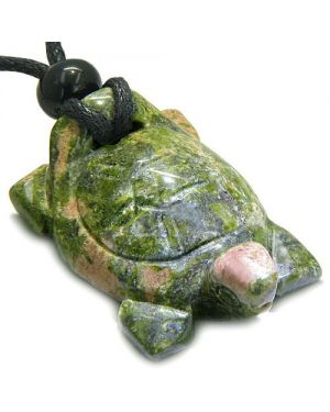 Amulet Lucky Charm Turtle Unakite Gemstone Healing Powers Carved Pendant Necklace