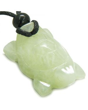 Amulet Lucky Charm Turtle New Green Jade Gemstone Healing Powers HCarved Pendant Necklace