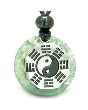 Yin Yang BA GUA Eight Trigrams Amulet Green Moss Agate Magic Circle Good Luck Pendant Necklace