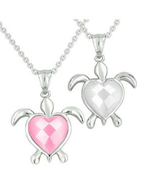 Amulets Love Couples Best Friends Turtle Heart Charm Yin Yang Candy Pink White Cats Eye Necklaces