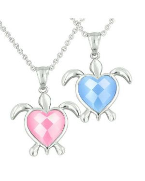 Amulets Love Couples Best Friends Turtle Heart Charm Yin Yang Candy Pink Blue Cats Eye Necklaces