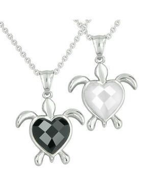 Amulets Love Couples Best Friends Turtle Heart Charm Yin Yang Energies Onyx Cats Eye Necklaces