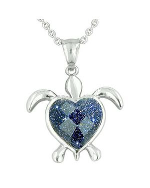 Lucky Charm Turtle Heart Powers Amulet Blue Goldstone Faceted Gemstone Magic Pendant Necklace