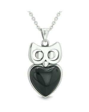 "Amulet Owl Cute Heart Lucky Charm Positive Energy Faux Black Onyx Pendant on 22"" Necklace"