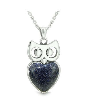 "Amulet Owl Cute Heart Lucky Charm Positive Energy Blue Goldstone Pendant on 18"" Necklace"
