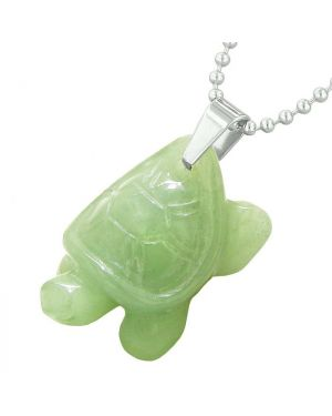 Amulet Turtle Cute Lucky Charm Healing Protection Powers Green Quartz Pendant 18 Inch Necklace