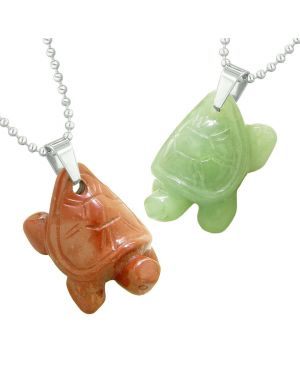 Lucky Turtles Charms Love Couples or Best Friends Healing Amulets Green Quartz Red Jasper Necklaces
