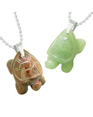 Lucky Turtles Charms Love Couples Best Friends Healing Amulet Red Tiger Eye Green Quartz Necklaces