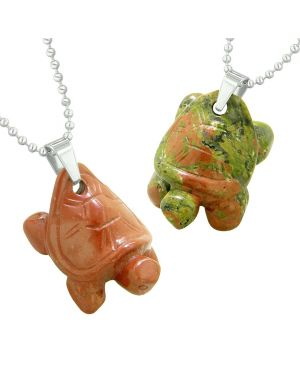Lucky Turtles Charms Love Couples or Best Friends Healing Amulets Set Unakite Red Jasper Necklaces