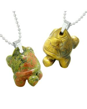 Lucky Turtles Charms Love Couples or Best Friends Healing Amulets Set Unakite Tiger Eye Necklaces