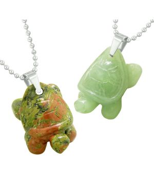 Lucky Turtles Charms Love Couples or Best Friends Healing Amulets Unakite Green Quartz Necklaces