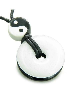 Amulet Double Lucky Yin Yang Donuts in Jade Black Onyx Gemstone Spiritual Good Luck Powers Necklace