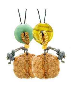 Double Dragon Car Charm Home Decor Green Quartz Tiger Eye Donuts Love Couples Best Friends Amulets