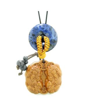 Double Dragon Car Charm or Home Decor Sodalite Lucky Coin Donut Magic Protection Powers Amulet
