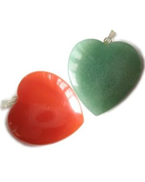 Double Lucky Gemstone Heart Pendants Special