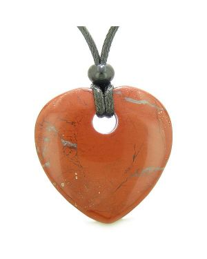 Amulet Large Lucky Heart Donut Shaped Charm Red Jasper Gemstone Pendant Spiritual Healing Necklace