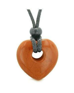 Amulet Lucky Heart Donut Shaped Charm Red Jasper Gemstone Pendant Spiritual Healing Necklace