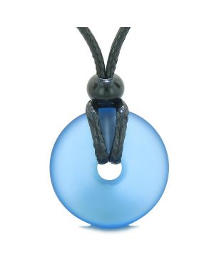 Lucky Coin Shaped Donut Frosted Sea Glass Cloud Blue Protection Life Powers Amulet Adjustable Necklace