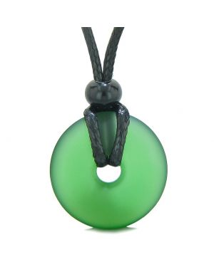 Lucky Coin Shaped Donut Frosted Sea Glass Forest Green Protection Life Powers Amulet Adjustable Necklace