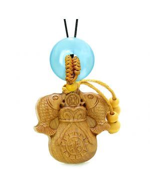 Double Fortune Fish Money Bag Car Charm Home Decor Blue Simulated Cats Eye Donut Magic Amulet