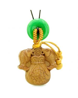 Double Fortune Fish Money Bag Car Charm Home Decor Green Quartz Donut Protection Magic Amulet